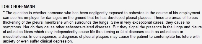 pleural plaques regulations